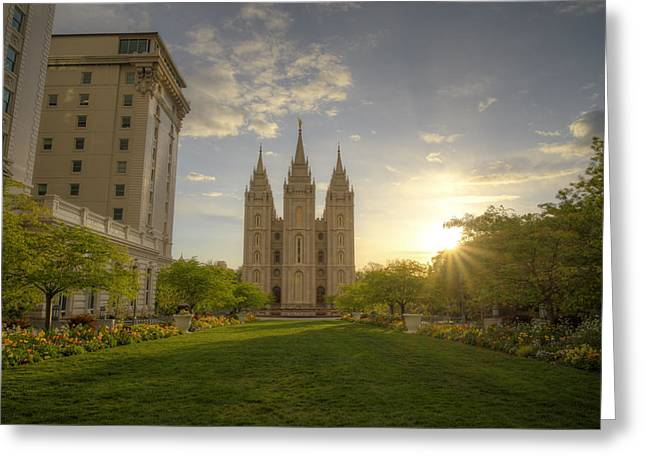Salt Lake City Temple Greeting Cards - Spring at Temple Square Greeting Card by Dustin  LeFevre