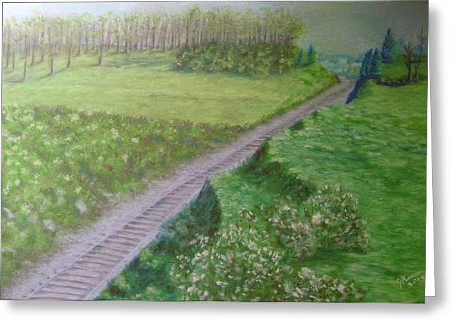 Civil Pastels Greeting Cards - Spring at the Railroad Cut Gettysburg Greeting Card by Joann Renner