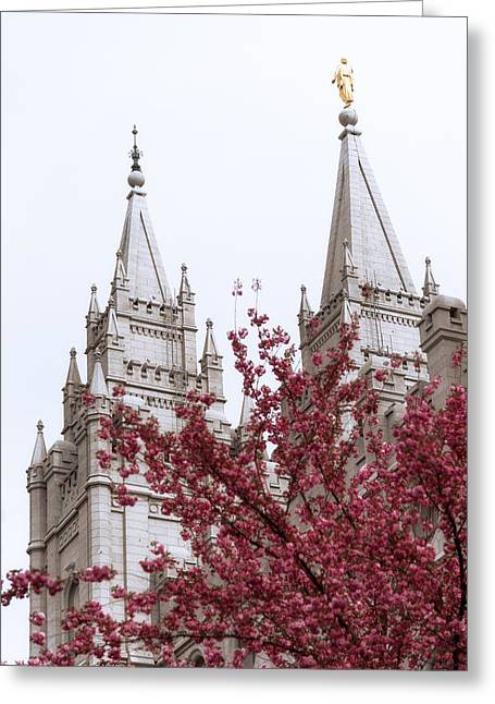 Spires Greeting Cards - Spring at the Temple Greeting Card by Chad Dutson
