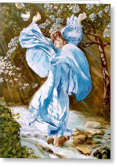 Angel Blues Greeting Cards - Spring - awakening Greeting Card by Henryk Gorecki