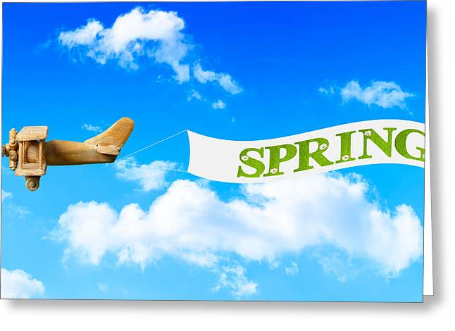 Toy Planes Greeting Cards - Spring Banner Greeting Card by Amanda And Christopher Elwell