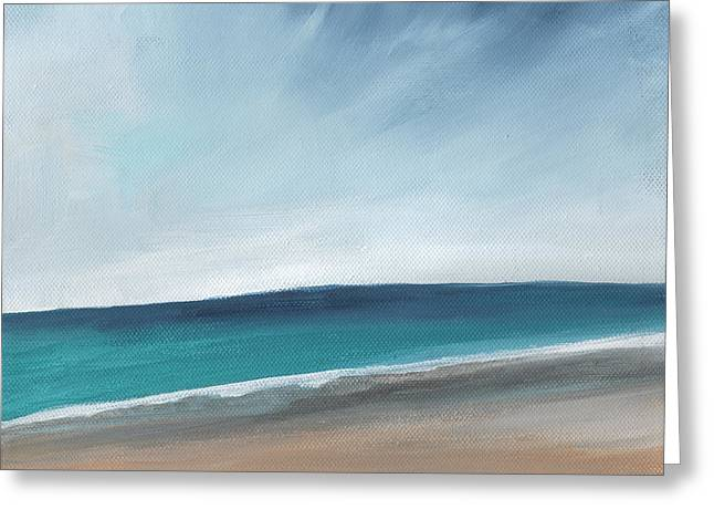 Living Room Art Greeting Cards - Spring Beach- contemporary abstract landscape Greeting Card by Linda Woods