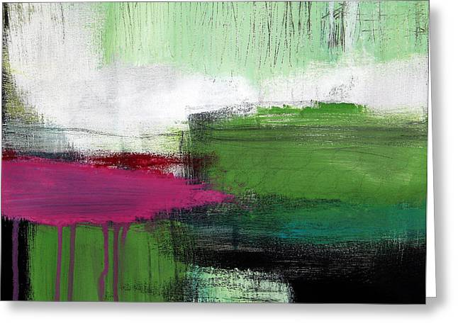 Green Design Greeting Cards - Spring Became Summer- Abstract Painting  Greeting Card by Linda Woods
