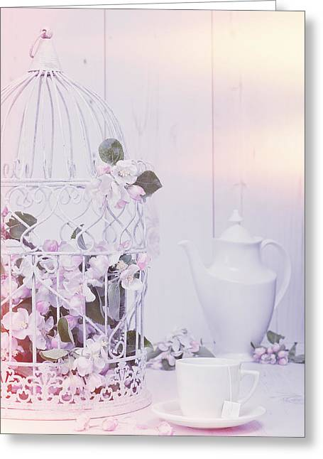 Flower Display Greeting Cards - Spring Birdcage Greeting Card by Amanda And Christopher Elwell