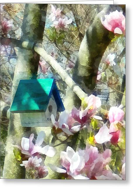 Florals Greeting Cards - Spring - Birdhouse in Magnolia Greeting Card by Susan Savad