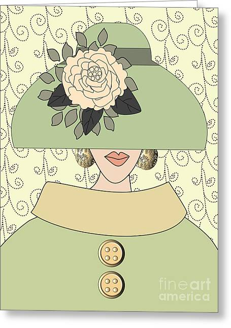 Green Swirl Hat Greeting Cards - Spring Blooming Peony fashion hat  Greeting Card by Mira Dimitrijevic