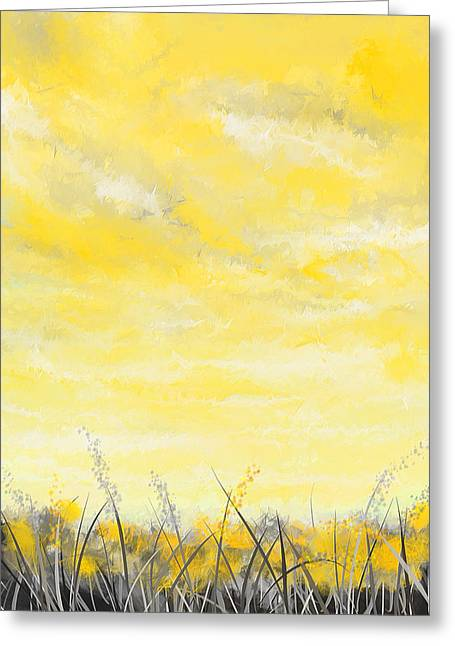 Yellow And Gray Abstract Greeting Cards - Spring Blooms - Yellow And Gray Art Greeting Card by Lourry Legarde