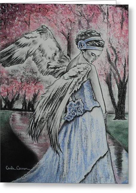 Spring Blossom Angel Greeting Card by Carla Carson