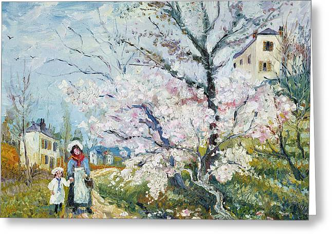 Garden Scene Greeting Cards - Spring Blossom Greeting Card by Henri Richet