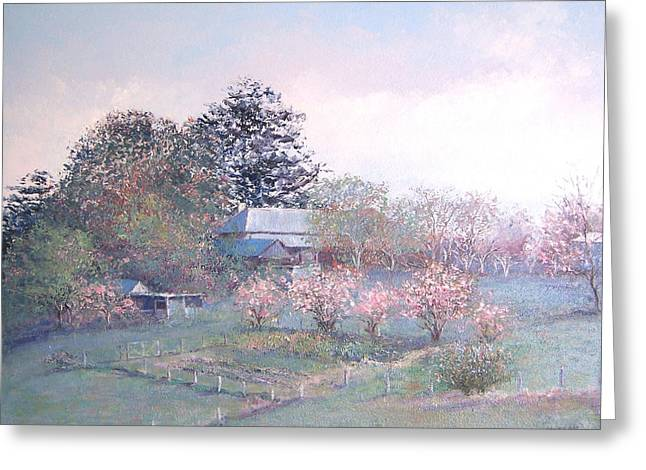 Lounge Paintings Greeting Cards - Spring blossom time Greeting Card by Jan Matson