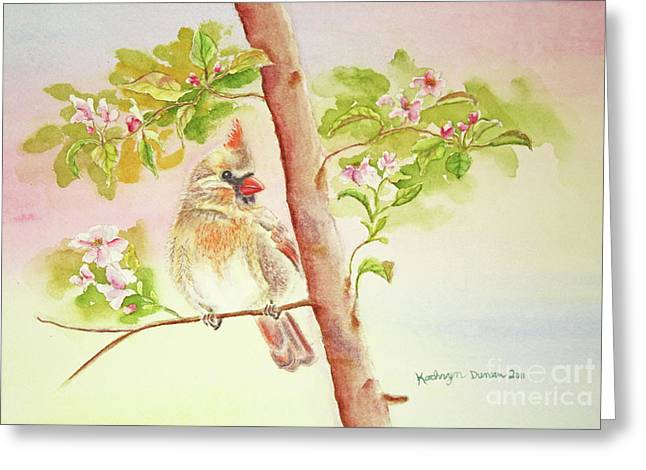 Songbird Greeting Cards - Spring Blossoms II Greeting Card by Kathryn Duncan