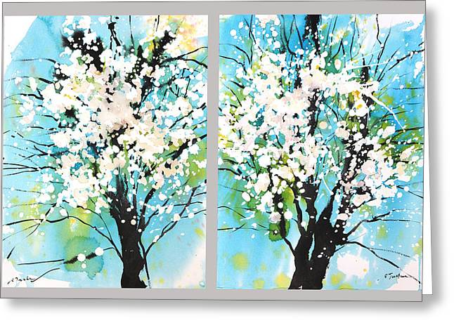 Millbury Greeting Cards - Spring Blossoms Greeting Card by Sumiyo Toribe