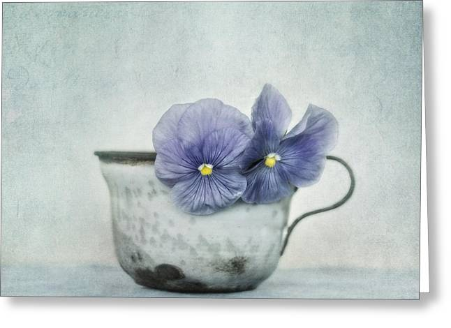 Enamel Greeting Cards - Spring Blues With A Hint Of Yellow Greeting Card by Priska Wettstein