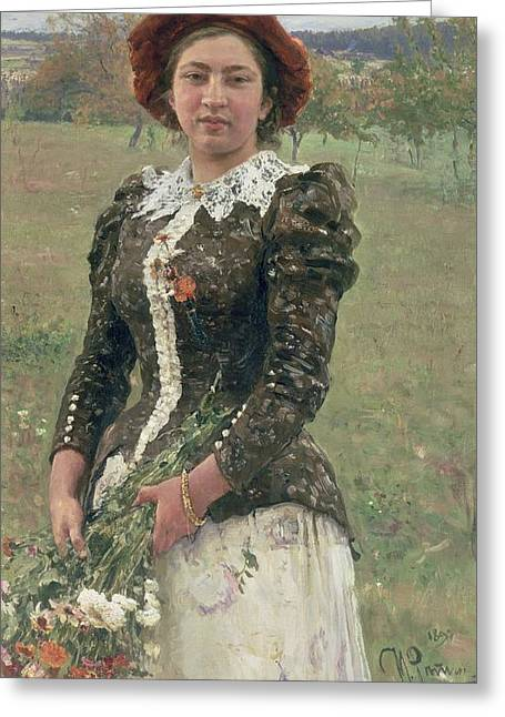 Group Portraiture Greeting Cards - Spring Bouquet Greeting Card by Ilya Efimovich Repin