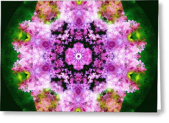 Cadeau Greeting Cards - Spring Bouquet Modern Mandala Greeting Card by Georgiana Romanovna