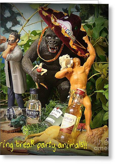 Universal Monsters Greeting Cards - Spring Break Party Animals Greeting Card by John Malone