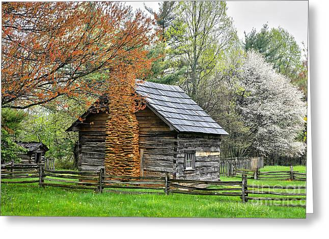Fruit Tree Photographs Greeting Cards - Spring Cabin I - Blue Ridge Parkway Greeting Card by Dan Carmichael