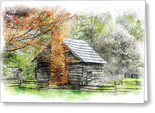 Fruit Tree Photographs Greeting Cards - Spring Cabin II - Blue Ridge Parkway Greeting Card by Dan Carmichael