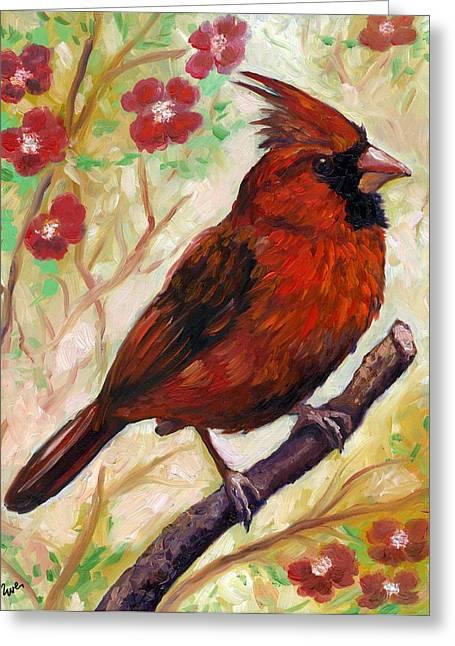 Eve Wheeler Greeting Cards - Spring Cardinal Greeting Card by Eve  Wheeler