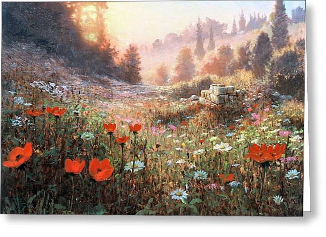 Evening Lights Paintings Greeting Cards - Spring Carpet Mt Carmel Greeting Card by Graham Braddock