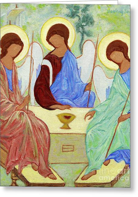 Holy Trinity Icon Greeting Cards - Spring Celebration Greeting Card by Xueling Zou