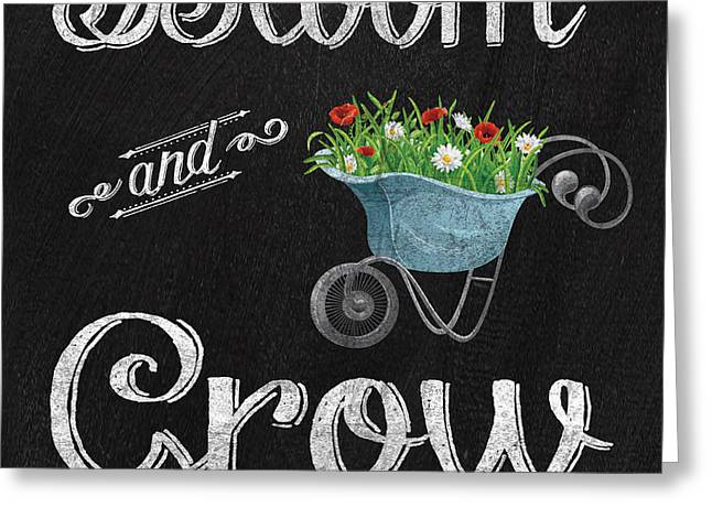 Mason Jars Greeting Cards - Spring Chalkboard Art-7 Greeting Card by Jean Plout