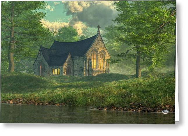 Evangelical Greeting Cards - Spring Chapel Greeting Card by Daniel Eskridge