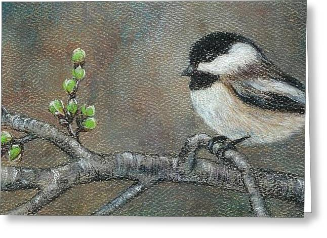 Cherry Blossoms Pastels Greeting Cards - Spring Chickadee Greeting Card by Jeanne Beutler