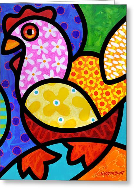 Chickens Greeting Cards - Spring Chicken Greeting Card by Steven Scott