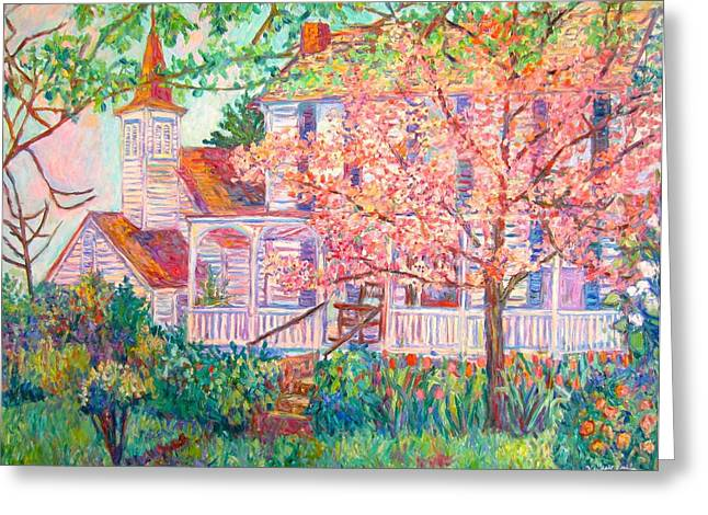 Spring Church Scene Greeting Card by Kendall Kessler