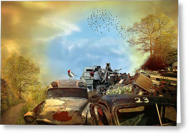 Junk Digital Greeting Cards - Spring Cleaning - landscape Greeting Card by Jeff Burgess
