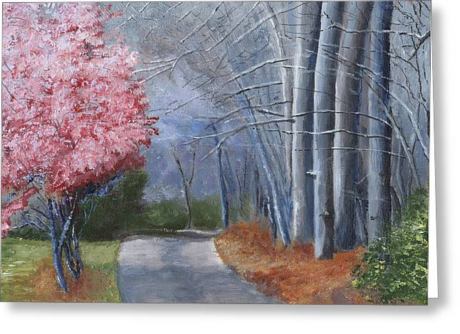 Cherry Blossoms Paintings Greeting Cards - Spring Color in Winter Greeting Card by William Killen