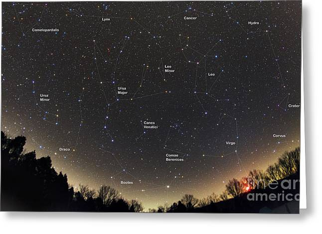 Ursa Minor Greeting Cards - Spring Constellations and Star Colors Greeting Card by John Chumack