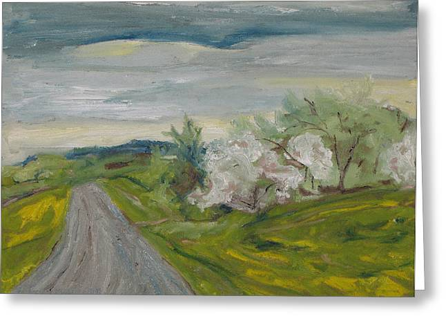Francois Fournier Greeting Cards - Spring Country Road Greeting Card by Francois Fournier