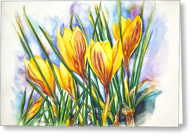 Yellow Crocus Greeting Cards - Spring Crocus Greeting Card by Patricia Allingham Carlson