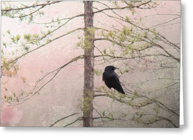 Spring Crow  Greeting Card by Gothicolors Donna Snyder