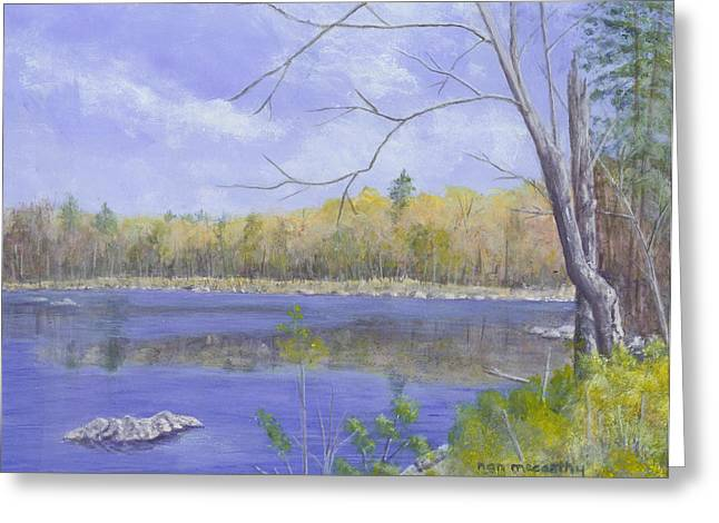 Nature Center Pond Paintings Greeting Cards - Spring Day Greeting Card by Nan McCarthy