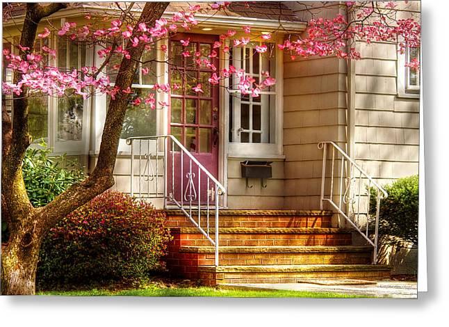 Spring - Door - Dogwood  Greeting Card by Mike Savad