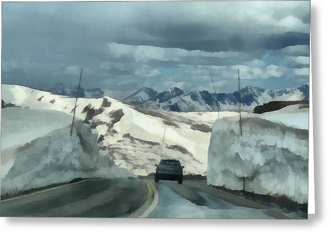 Cars In Winter Greeting Cards - Spring Drive On Trail Ridge Road Greeting Card by Dan Sproul