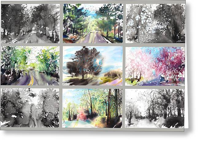 Storibeart Greeting Cards - Spring Drive Greeting Card by Sumiyo Toribe