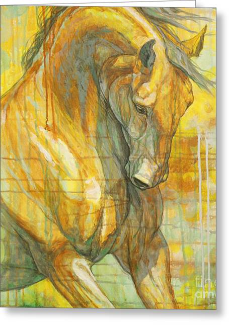 Race Horse Greeting Cards - Spring Energy Greeting Card by Silvana Gabudean