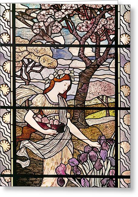 Stained Glass Art Greeting Cards - Spring Greeting Card by Eugene Grasset