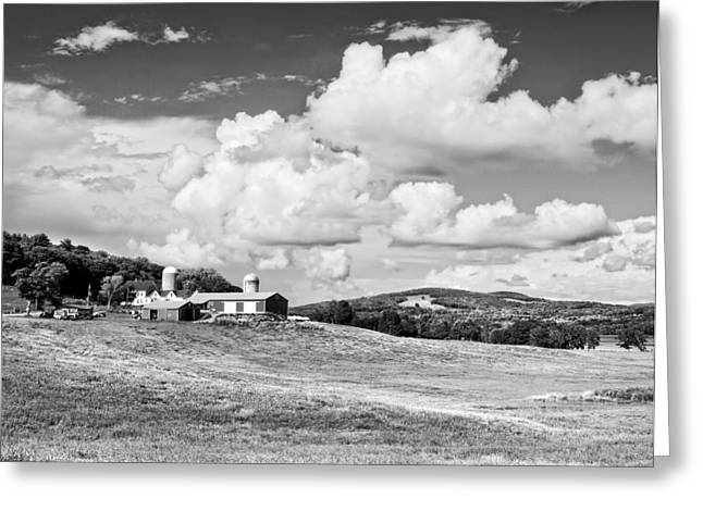 Maine Farms Digital Greeting Cards - Spring Farm And Hay Field With Clouds in Maine Greeting Card by Keith Webber Jr
