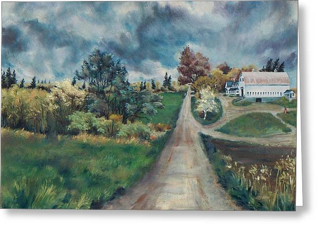 Rural Maine Roads Paintings Greeting Cards - Spring Farm Greeting Card by Joy Nichols