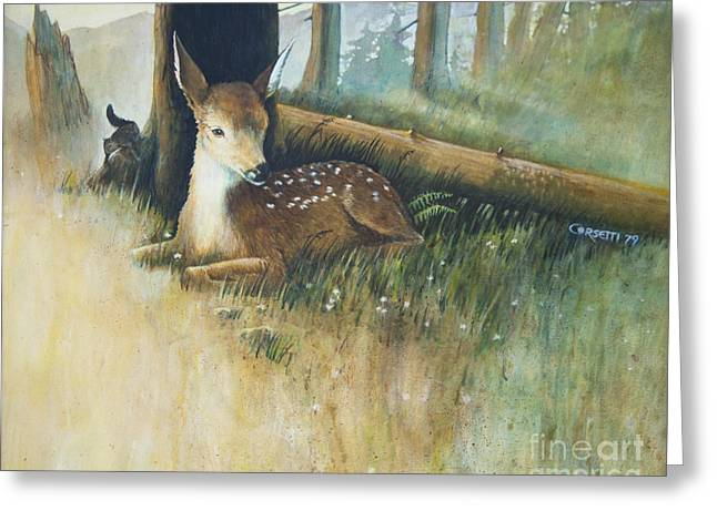 Fawn Mixed Media Greeting Cards - Spring Fawn Greeting Card by Rob Corsetti