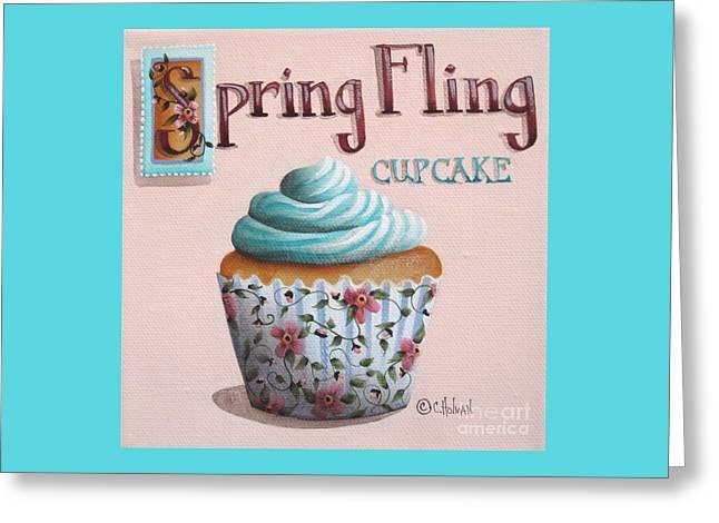 Cupcake Art Greeting Cards - Spring Fling Cupcake Greeting Card by Catherine Holman