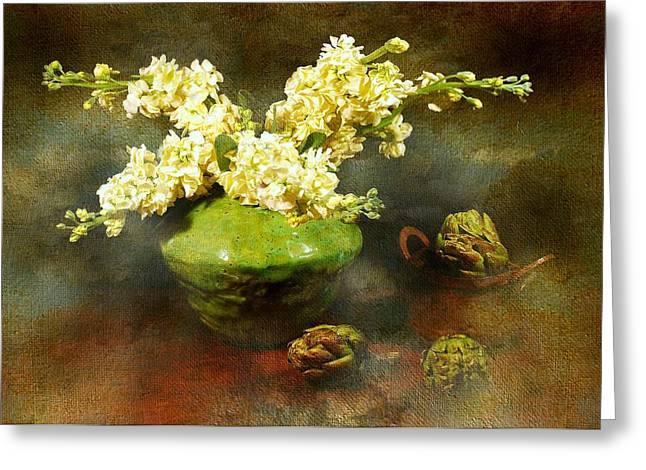 Vase Of Flowers Greeting Cards - Spring Fling Greeting Card by Diana Angstadt