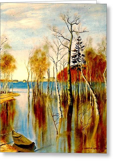 Spring Flood Greeting Card by Henryk Gorecki