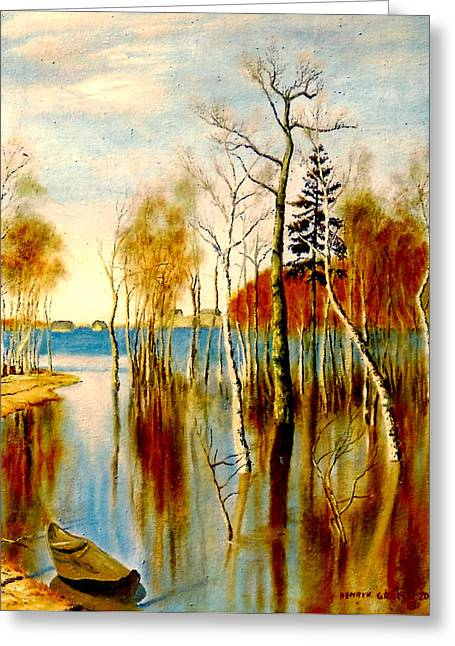 Boats On Water Greeting Cards - Spring Flood Greeting Card by Henryk Gorecki