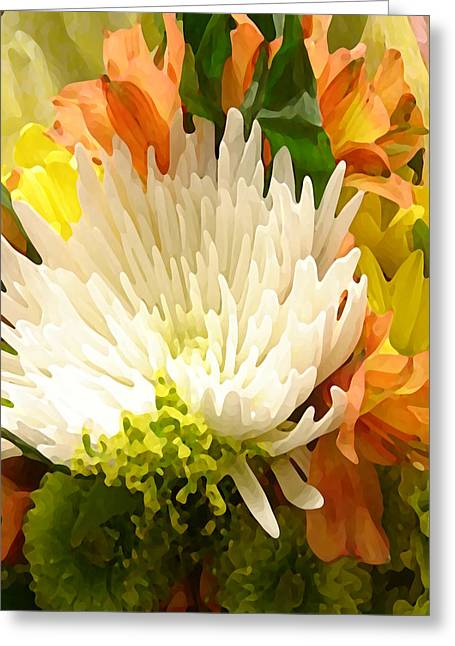 Lilies Greeting Cards - Spring Floral Burst Greeting Card by Amy Vangsgard